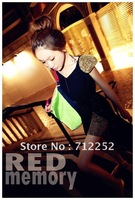 2013Fashion Women Patchwork Shoulder Padding Chiffon Dress Shinny Sheath Over Hip Floor Length Dress Black Free Shipping120719#4