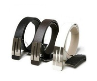 Free Shipping Fashion Stylish Men's Faux Leather S Shape Silver Metal Buckle Belt New ,wholesales & retail #B04