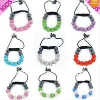 Free shipping Kids Shamballa Crystal Bracelet Bling Disco Small Baby Ball Friendship Gift