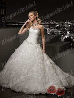 New Listing Fashionable ruched Flower Luxury Ball Gown Wedding Dress Bridal gown