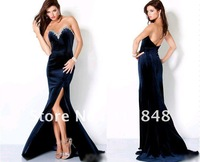 Inexpensive freeshipping glamorous modest style sweetheart backless train asymmetrical satin prom gown evening dresses ED321