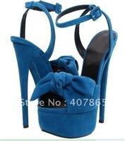 hot sale !! Blue suede leather with heels 17cm platform shoes Party shoe party shoes