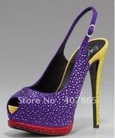 2012 Newest style purple with diamond peep-toe slingback women's Pumps shoes
