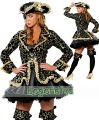 Free Shipping! 5 PCS Sexy Goth Black Deluxe Pirate Cosplay Halloween Costume Wiched  Queen Wholesales One Size For Show
