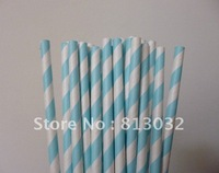 wholesale Free shipping paper straws,striped paper straws, light blue, 500pcs/lot