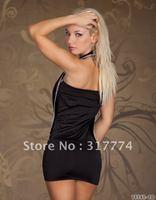 Free Shipping !MOQ 1pc  New Sexy  Lingerie Sleep wear babydoll Lovely  Dress+G-String Under wear Black N085 intimates club wear
