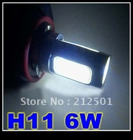 Free shipping   DC12V  only White  H11 6W High Power  Car LED Fog Light auto Lamps  Energy Saving for youo car