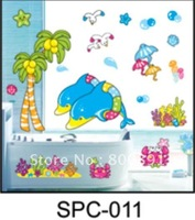 Free Shipping!Dolphins and coconut stickers, bathroom wall sticker, PVC home decor paper, SPC011, hot sell style