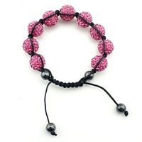 fine jewelry Handmade pink color Shamballa Bracelet beautiful with ball face glitter crystal beads 100pcs/lot