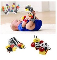 free shipping 2012 New arrival baby rattle baby toys Lamaze Garden Bug Wrist Rattle+Foot Socks 4pcs a set