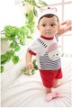 Wholesale - Baby unisex printing lovely child romper boy`s & girl`s stripe bodysuit fake two-piece ha clothing free shipping