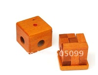 Free shipping of Small  Wooden box pack cube Wooden Brain Teaser Puzzle