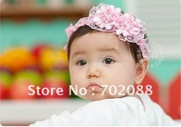 Free shipping 5pcs Baby lace headwear Princess hairband with many pearls and flowers Color:Pink White