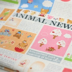 Free Shipping! Kawaii Animal News Design Patchwork Cotton Linen Fabric Wholesale 5 meters - 135cm x 100cm(China (Mainland))