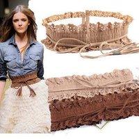 2012 NEW excellent quality, 12PCS./lot wholesale lace elastic ladies wide belt