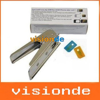Wholesale MICRO SIM CARD CUTTER + 2 ADAPTER FOR iPHONE 4 4G iPAD free shipping wholesale 10pcs/lots