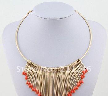 Free shipping 2012 Newest Fashion Necklace Jewelry Wholesale Vintage Metal multi-level fringed color matchemetal Choker Necklace