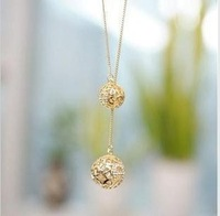 wholesale necklace  fashion Electroplating gold-plated set auger necklace ball long necklace alloy