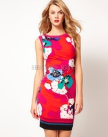 women  dress Colorful print elastic slim one-piece dress