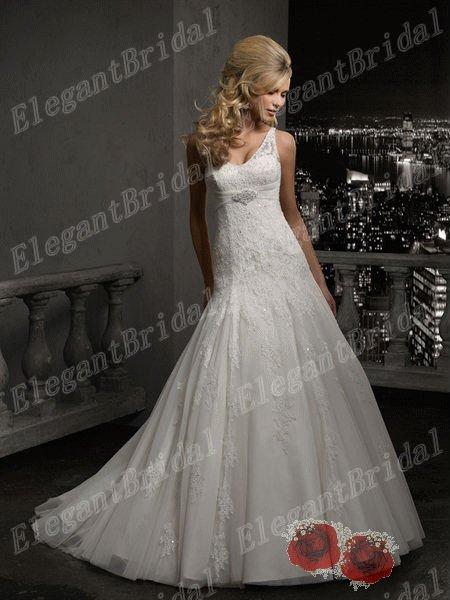 Free Shipping Wholesale Elegant A-Line Lace Wedding Dresses Custom-made New Listing(China (Mainland))