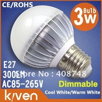 Dimmable!! Kiven 3w led bulb 10pcs/lot  E27 warm/cool white 300lm,150 angle, bright led bulb/led spotlight  freeshipping