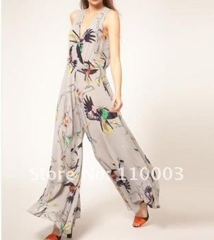 Siamese bird pattern and chiffon pants wide leg slacks  A479