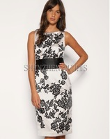 women  dress Elegant black rose vintage wide belt lace embroidery slim one-piece dress cst107