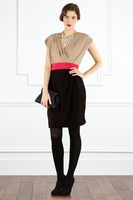 women  dress 2012 OL outfit elegant color block decoration slim waist slim one-piece dress short-sleeve