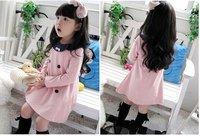 Free shipping Hot sell pink/navy blue thin dress Spring  autumn bow girls' dress 100-140 5pcs/lot Girl dress Chilren's clothing