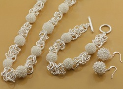 Free Shipping Wholesale 925 remark silver Ball jewelry set,Fashion jewelry BPT922(China (Mainland))
