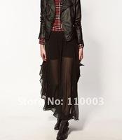 Asymmetric pressure line skirt chiffon irregular black sexy skirts A484