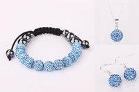 925 Silver Jewelry Set 10mm Crystal Ball Beads Shamballa sets Necklace Bracelet Earrings