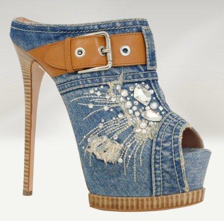 Туфли на высоком каблуке Classic Jean Material Denim Platforms Slipper Women Open Toe 14cm High Heel Shoes, Toeless Stiletto, Sandals, Wedding Shoes