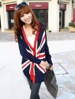 Free Shipping New arrival Women's long sleeve V-neck UK flag long cardigan lady's cusual thin knitwear