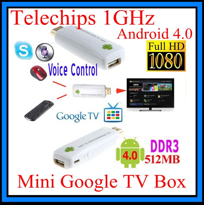 HOT Android 4.0 Mini Google TV Box Telechips 1GHz WiFi 1080P HD IPTV