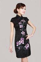 Black Chinese Women's Cotton Qipao Embroidery Mini Cheong-sam Evening Dress S M L XL XXL D0179-A