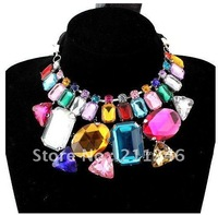 Free Shipping 2012 Newest Fashion Acrylic Necklace Hot Wholesale Handmade mosaic acrylic Ribbon Ribbon sweater chain necklace