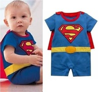 Wholesale-12 sets/lot Batman&Superman Baby Romper/Baby Dress Smock/Infant Romper Costume Free Shiping