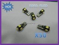 HOT!!! 50pcs/lot Error Free T10 Canbus led  W5W 194 5050 SMD 5 LED White Light Bulbs