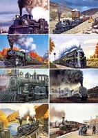 [Free Shipping]Hand Paintings:different and vivid trains in beautiful landscape,8PCS Postcards,15*10.5 cm,2#,Wholesale & Retail