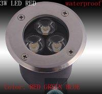 3W LED RED GREEN BLUE Outdoor In ground Garden FLOOD Light Spot Lamp waterproof