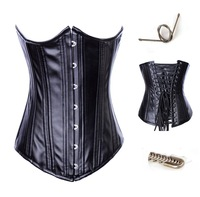 Free Shipping,2012 NEW Leather Corset Black Sexy Lingerie Steel Boned wholesale retail