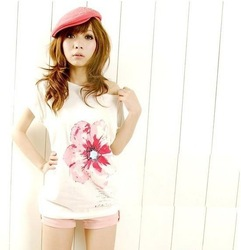 2012 New Arrival,Hot Sell women's fashion Flower printed Cotton t shirts top clothes women t-shirt/top blouse,White,X2145(China (Mainland))