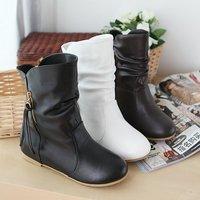 US 4-11  BIG SIZE BOOTS  New arrived black Tassel zipper snow boots Motorcycle flat pu Fashion shoes HX-A-2