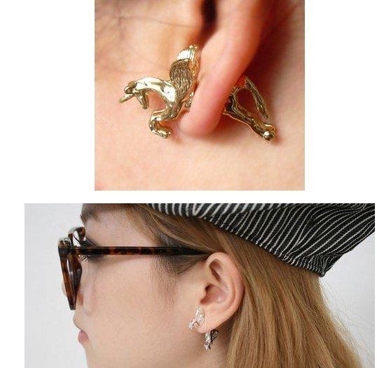e164 grote pak ontwerp vintage oor manchet punk stijl mode eenhoorn vliegende paard doorboren oorbel gratis verzending