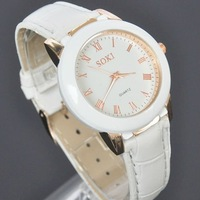 SOKI New Luxury White Quartz Womens Ladies Analog Leather Band Wrist Watch W006