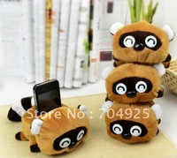 2PCS Kawaii RACOON DOLL Plush Stuffed Toy DOLL ; Mobile Cell Phone Holder Case Car Stand Holders Pouch Bag ; Phone Rack Pouch