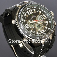 New Black Military Mens LED Dual Analog Digital Day Date ALM Stop Quartz Wrist Rubber Band Watch W073