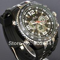New Black Military Mens LED Dual Analog Digital Day Date ALM Stop Quartz Wrist Rubber Band Watch W073