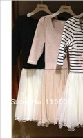 Stripes stitching the tutu Lei mesh yarn bon bon dress A566